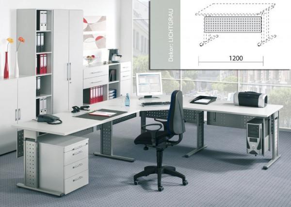 Sichtblende für Arbeitstisch gelocht, silber, Tischbreite 1200mm