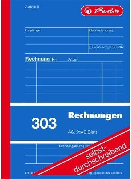 Formularblock Rechnung A6 2x 40 Blatt Herlitz selbstdurchschreibend (Nr. 303)