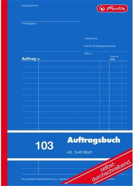 Formularblock Auftrag A5 3x 40 Blatt selbstdurchschreibend, Herlitz (Nr. 103)