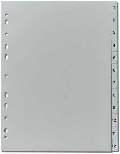 Register 1-12 A4 Plastik PP-Folie Herlitz, 225x297mm, Eurolochung