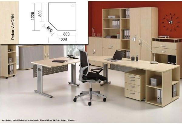 Arbeitstisch Fünfeckplatt Lissabon B1225xT1225xH680-820mm Ahorn/Silber