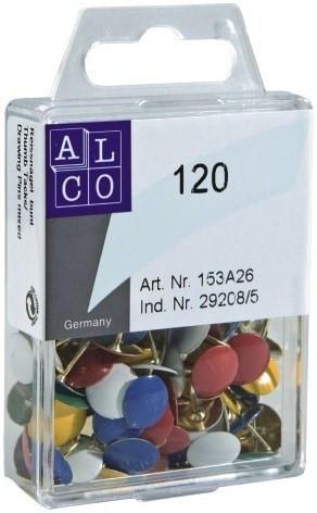 Reißnägel kunststoffüberzogen weiß, in Plastikdose, Inhalt: 120 Stück, Alco