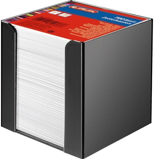 Zettelbox schwarz 700 Blatt weiß 9x9cm