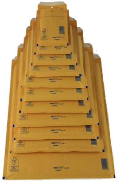 Luftpolstertasche K/10 (innen: 350x470mm/ außen: 370x480mm), braun, Haftklebung