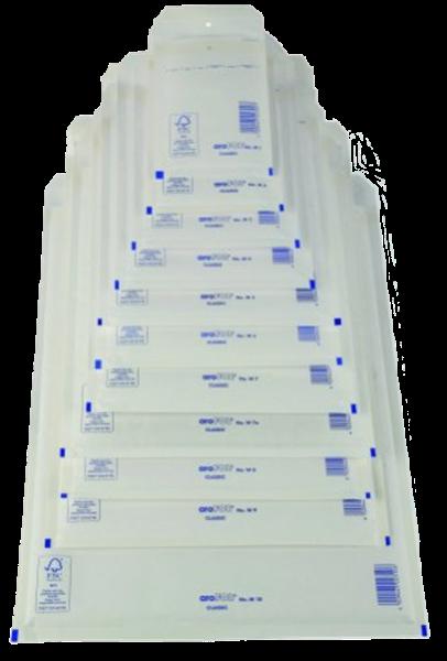 Luftpolstertasche A/1 (innen: 100x165mm/ außen: 120x175mm), weiß, Haftklebung