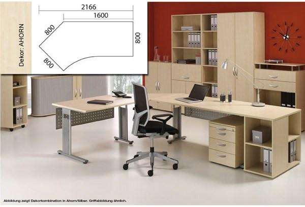 Arbeitstisch Lissabon B2166xT1131xH680-820mm Ahorn Tisch Freiform 135° links