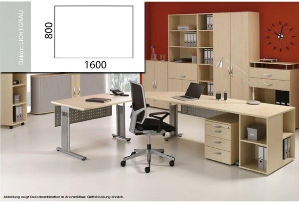Arbeitstisch Lissabon B1600xT800xH680-820mm Lichtgrau Tischform: Rechteck