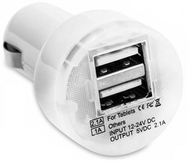 Dual USB Ladegerät für Kfz-Zigarrettenanzünder, weiß, 2 Anschlüsse