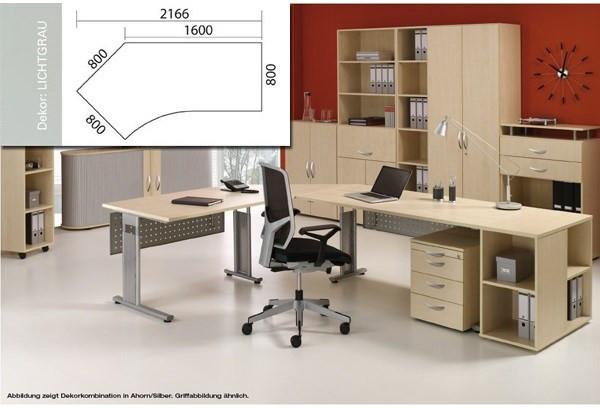 Arbeitstisch Lissabon B2166xT1131xH680-820mm lichtgrau Tisch Freiform 135° links